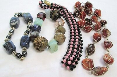 Good vintage Deco French jet & glass bead collar necklace + carnelian necklace +