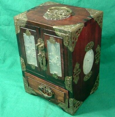 VINTAGE c1950 CHINESE Republic period WOOD JEWELLERY CABINET BOX JADE PANELS