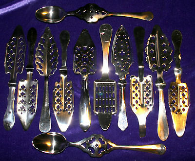 Lot of 12 different Brand New Absinthe Spoons, plus 20 Absinthe cubes, xlnt.