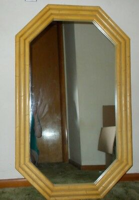 """Wall Mirror Vintage 1960s Octagon Deco 45"""" x 27"""" Faux Bamboo Rattan Home Decor"""