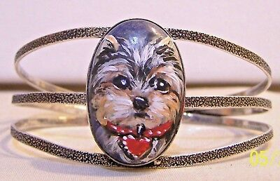 hand painted Yorkie on  semi precious gemstone sterling silver plated bracelet