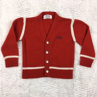 Vintage 1970's IZOD Lacoste Cardigan Sweater Red White Toddler Boys Size 4T