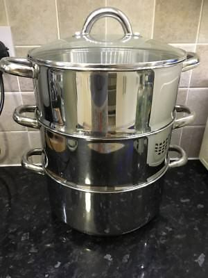 Judge Standard Stainless Steel 3 Tier Steamer With Toughened Glass Lid 24cm
