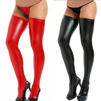 Struempfe-Stockings-Halterlose-Lederlook-Optik-Wetlook-Clubwear-Overknees