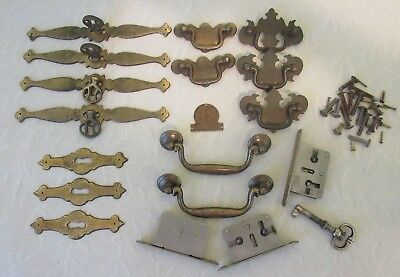 Vintage Mixed Lot Cabinets Furniture Drawer Chest Pulls Handles Locks Key Parts
