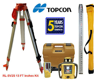 Topcon RL-SV2S DB Dual Slope Self-Leveling Rotary Laser Level, Tripod, Inch Rod