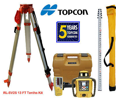 Topcon RL-SV2S DB Dual Slope Self-Leveling Rotary Laser Level, Tripod, Tenth Rod