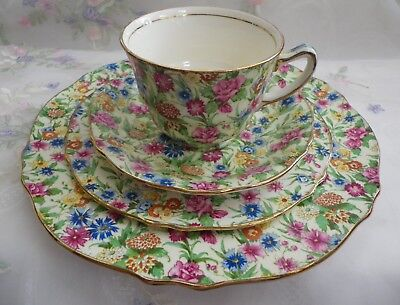 Vintage Royal Winton Kew Chintz Cup, Saucer, Plate & Cake Plate  A Backstamp