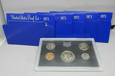 Lot of 5 x 1971 U.S. Mint Proof Sets From US Mint S-Mint Coins Complete 5 Coin