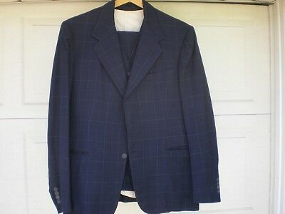 1930s vintage 3 piece men's suit Marshall Field's blue checked 38 39 40 Chicago
