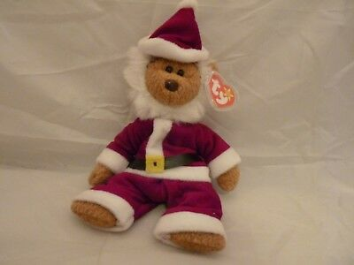 1996 Ty Original Beanie Babies CURLY Brown Bear in Santa Costume w/Tags (9 inch)