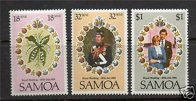 Samoa 1981 Royal Wedding SG599/601 MNH