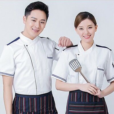 Cooking Restaurant Chef Coat Unisex Short Sleeve Uniform Jacket Comfortable Coat