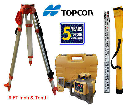 Topcon RL-H5A DB Rotary Laser Level PLUS 9 FT Combo Inch & Tenths Rod, Tripod