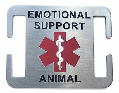 Emotional Support Animal Dog Tag - Stainless Steel - Attaches to Collar or Ha...