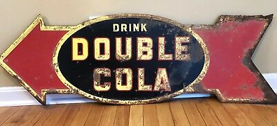 "Large Rare Vintage 1939 Double Cola Soda Pop Gas Station 48"" Embossed Metal Sign"