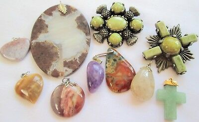 Two large vintage silver metal & agate glass Scottish brooches + 7 pendants
