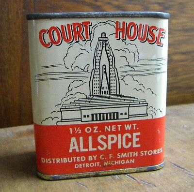 Vtg Court House  Allspice Tin Detroit Michigan  Sold By C.f. Smith Stores Rare