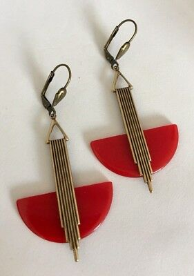 Vintage Large Art Deco 'odeonesque' Red French Bakelite/galalith Earrings