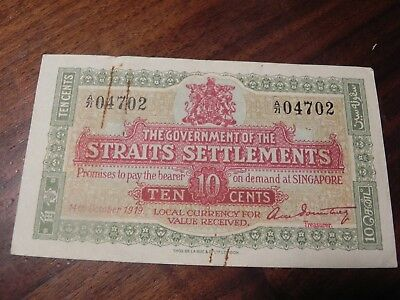 Straits Settlements 10 Cents P8b 1919  -04702  Scarce Banknote Nice !