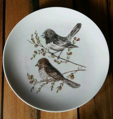Antique Collectable Handpainted Thomas Germany Birds Plate Signed E.P PERFECT