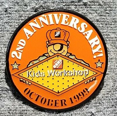 LMH PINBACK Pin 1999 HOME DEPOT Employee Insignia KIDS WORKSHOP 2nd ANNIVERSARY