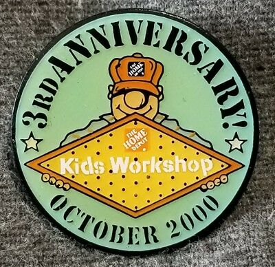 LMH PINBACK Pin 2000 HOME DEPOT Employee Insignia KIDS WORKSHOP 3rd ANNIVERSARY