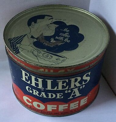 Ehlers Grade A Coffee Tin Can With Guy Logo On Lid Brooklyn New York