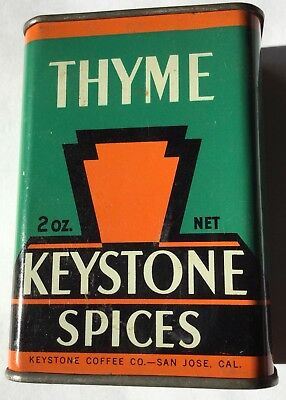 Keystone Spice Spices Tin Can Thyme Coffee Co San Jose California Art Deco Look