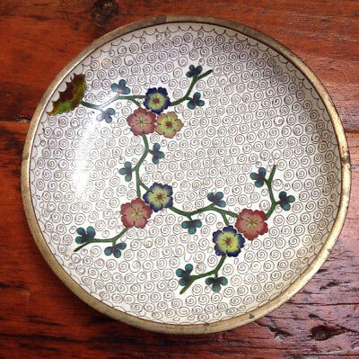 Vtg Asian Chinese Cloisonne Enamel Flowers Blossoms Brass Jewelry Dish Bowl 6.5""