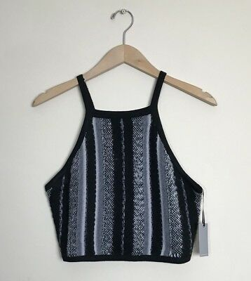 db70546713 Lovers + Friends  119 Colorblocked Knit Halter Crop Top NWT Large Gray Black
