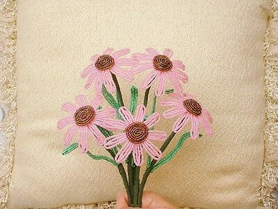 ** French Beaded Flowers ** 5 Handmade Pink Coneflowers With Raised Centers **