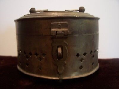 Turkish vintage brass canister with lid and sturdy clasp