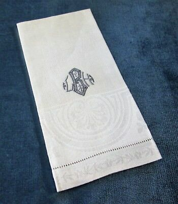 Antique Nubby Linen Towel Blue L B H Monogram HIgh Quality Hemstitched Unused