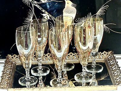 Fabulous Vintage  Hand Made Lustre Crystal Champagne Flutes Set Of 6
