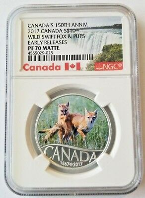 2017 Canada 150th 1/2 oz Silver $10 Wild Swift Fox & Pups NGC PF70