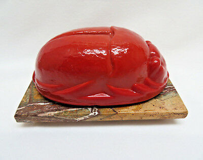 Vintage Large Carnelian Colored Glass Scarab Beetle Paperweight w/ Marble Base
