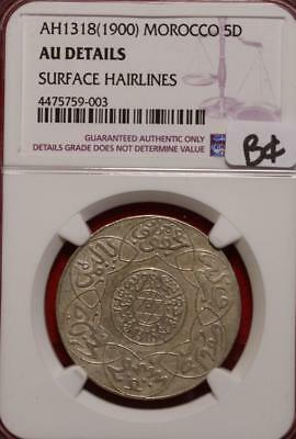 AH1318(1900) Morocco 5 Dirham Silver NGC Graded AU Details Surface Hairlines