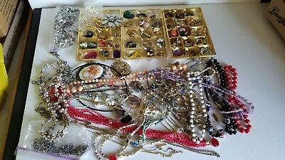 Large lot of Vintage Costume - Junk - Craft Jewelry (Necklaces/Pins/Earrings)