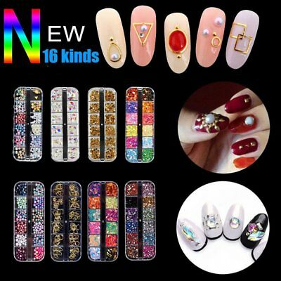 12 Grids Colorful DIY 3D Glitter Nail Art Tips Manicure Crytal Decoration Box