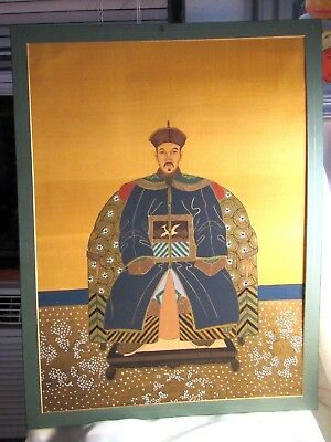 Chinese Color & Ink On Silk Emperor Ancestor Portrait Paintings 24X18