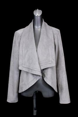 womens gray H BY HALSTON open blazer jacket shawl lapel faux suede modern L 14