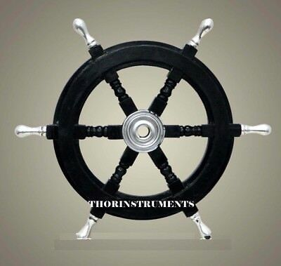 "18"" Collectible Nautical Boat Ship Wheel Wooden Steering Home Decor"