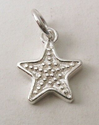 GENUINE SOLID 925 STERLING SILVER 3D STAR Charm/Pendant