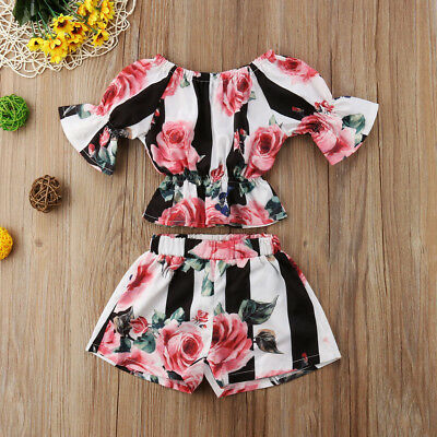 US Stock Summer Toddler Kids Girls Stripe Floral Tunic Tops Shorts Outfits Set
