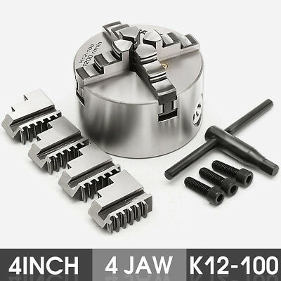 4'' K12-100  Lathe Chuck 4 Jaw Self Centering & Reversible Independent CNC 100mm