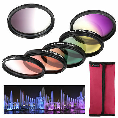 6pcs Graduated Color Lens Filter Kit for Nikon D3100 D3200 D5100 DSLR 52mm LF348