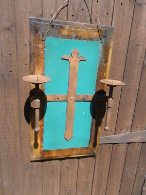 rustic Gothic church style wall hanging candle sconce on a panel candle burner 3