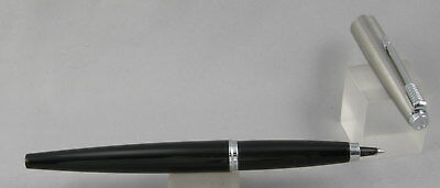 Parker 45 Black & Stainless Steel Cap w/Chrome Trim Rollerball Pen - 1970's -USA