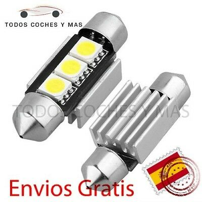 Bombillas Led Canbus Festoon C5W 36Mm 39Mm 3 Led Smd 5050 Blanco Puro Matricula